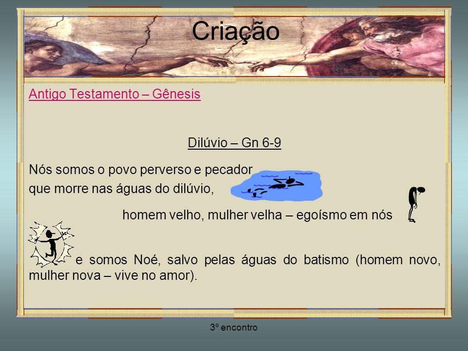 3º encontro Criação Antigo Testamento – Gênesis Dilúvio – Gn 6-9 Nós somos o povo perverso e pecador que morre nas águas do dilúvio, homem velho, mulh