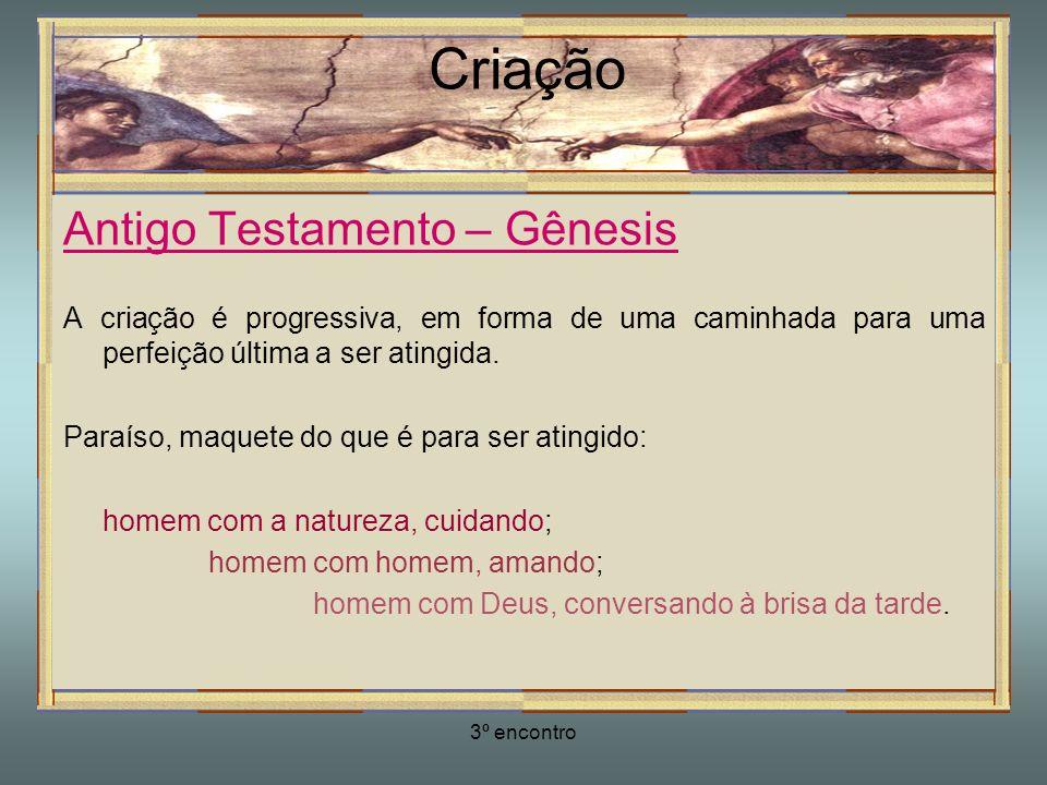 3º encontro Criação Antigo Testamento – Gênesis Perfeição, tudo em harmonia.