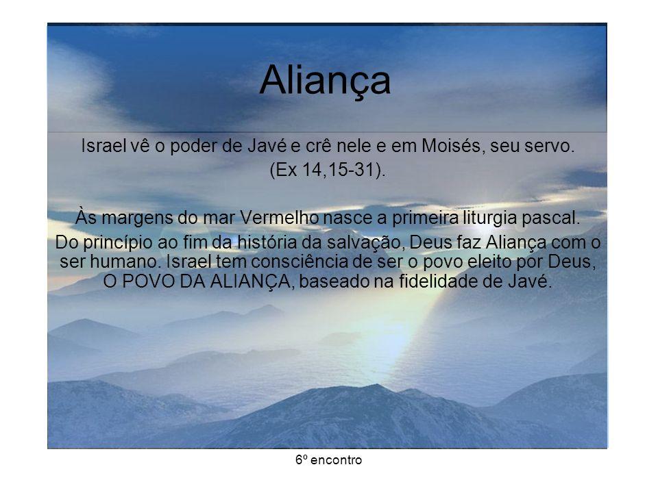 6º encontro Aliança Israel vê o poder de Javé e crê nele e em Moisés, seu servo.