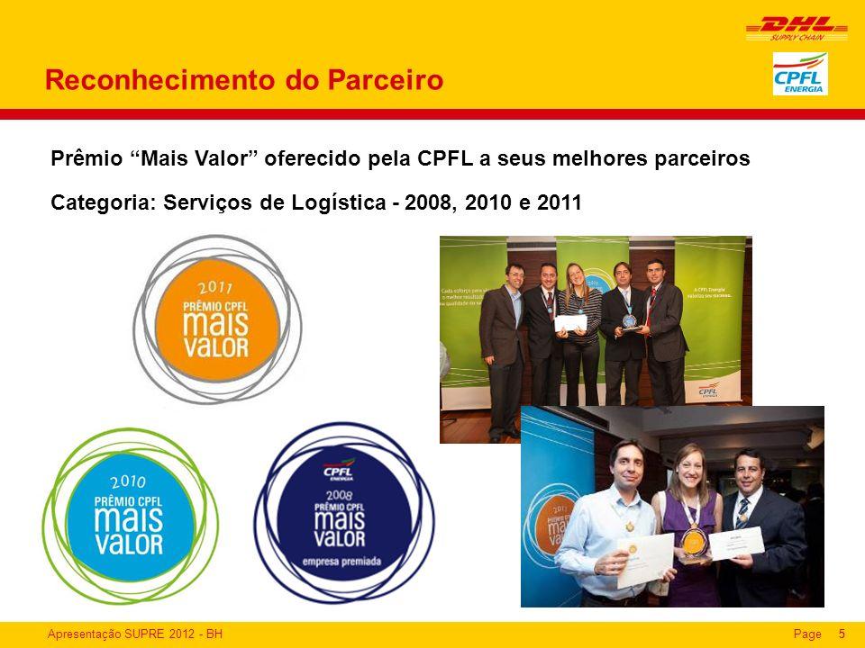 Apresentação SUPRE 2012 - BHPage5 Prêmio Mais Valor oferecido pela CPFL a seus melhores parceiros Categoria: Serviços de Logística - 2008, 2010 e 2011