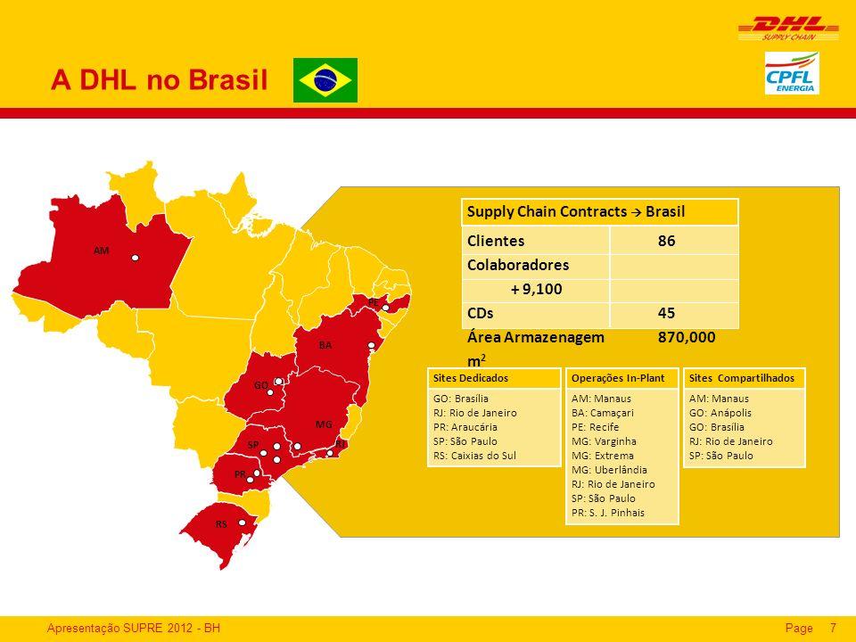 Apresentação SUPRE 2012 - BHPage7 A DHL no Brasil AM: Manaus GO: Anápolis GO: Brasília RJ: Rio de Janeiro SP: São Paulo Sites Compartilhados GO: Brasí