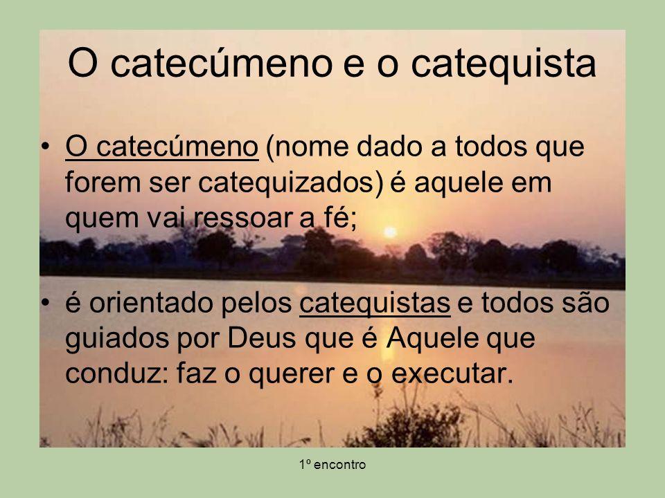 1º encontro O catecúmeno e o catequista A catequese não é uma aula em que o professor passa a matéria que sabe e que preparou para a aula.