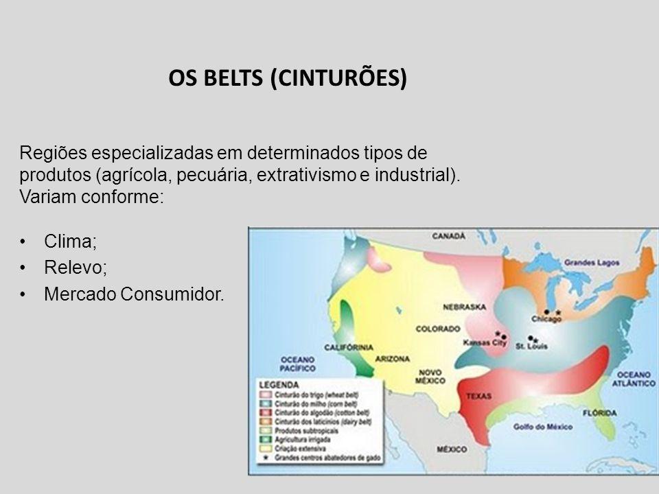 OS BELTS (CINTURÕES) Clima; Relevo; Mercado Consumidor. Regiões especializadas em determinados tipos de produtos (agrícola, pecuária, extrativismo e i