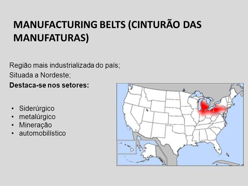 MANUFACTURING BELTS (CINTURÃO DAS MANUFATURAS) Região mais industrializada do país; Situada a Nordeste; Destaca-se nos setores: Siderúrgico metalúrgic