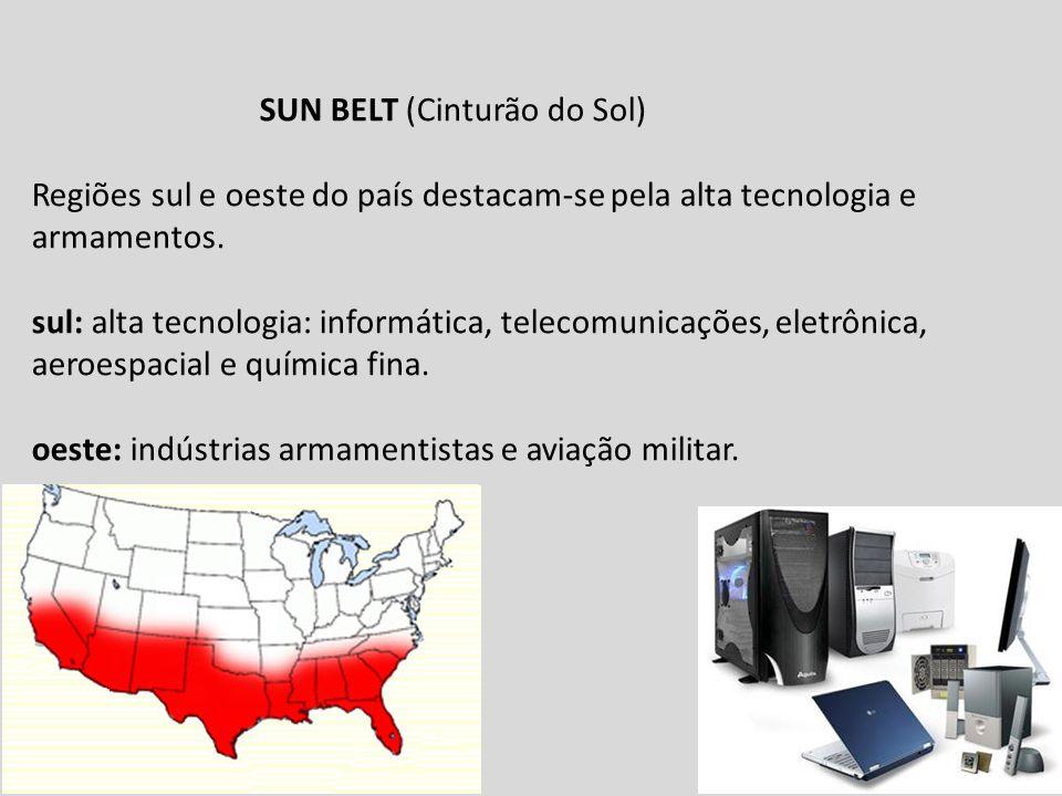 SUN BELT (Cinturão do Sol) Regiões sul e oeste do país destacam-se pela alta tecnologia e armamentos. sul: alta tecnologia: informática, telecomunicaç