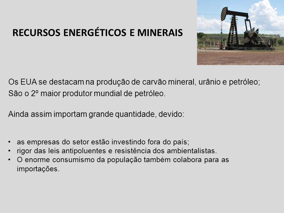 RECURSOS ENERGÉTICOS E MINERAIS Os EUA se destacam na produção de carvão mineral, urânio e petróleo; São o 2º maior produtor mundial de petróleo. Aind