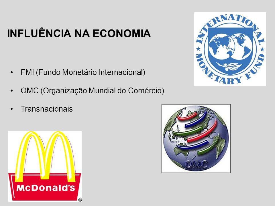 INFLUÊNCIA NA ECONOMIA FMI (Fundo Monetário Internacional) OMC (Organização Mundial do Comércio) Transnacionais