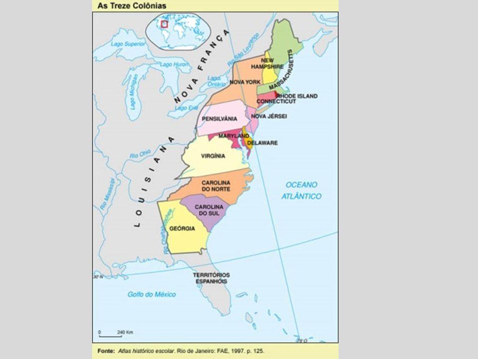 Limites dos EUA: Norte: Canadá, Leste: oceano Atlântico, Sul: México e golfo do México, Oeste: oceano Pacífico.