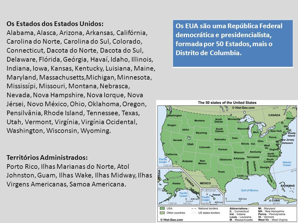 Distribuição da População A densidade demográfica dos EUA é de cerca de 30 hab./km 2, entretanto apresenta uma irregularidade na distribuição dessa população sobre o território americano, com áreas cujas taxas variam de 1hab./km 2 a mais de 200 hab./km 2.