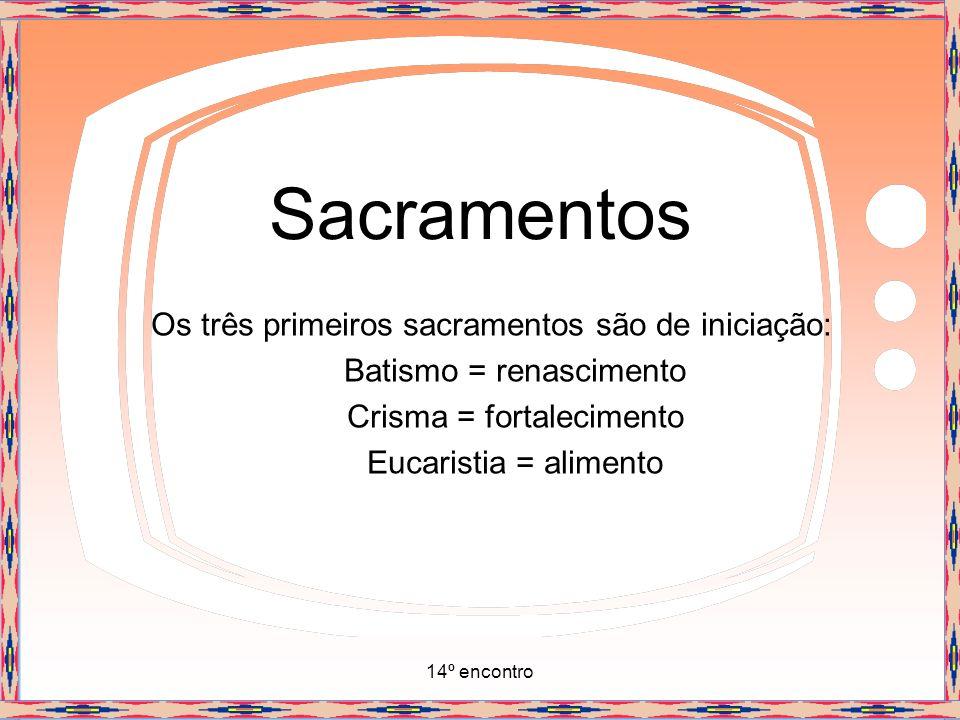 14º encontro Sacramentos Os três primeiros sacramentos são de iniciação: Batismo = renascimento Crisma = fortalecimento Eucaristia = alimento