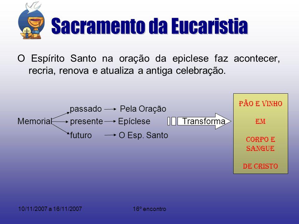 10/11/2007 a 16/11/200716º encontro O Espírito Santo na oração da epiclese faz acontecer, recria, renova e atualiza a antiga celebração. passado Pela