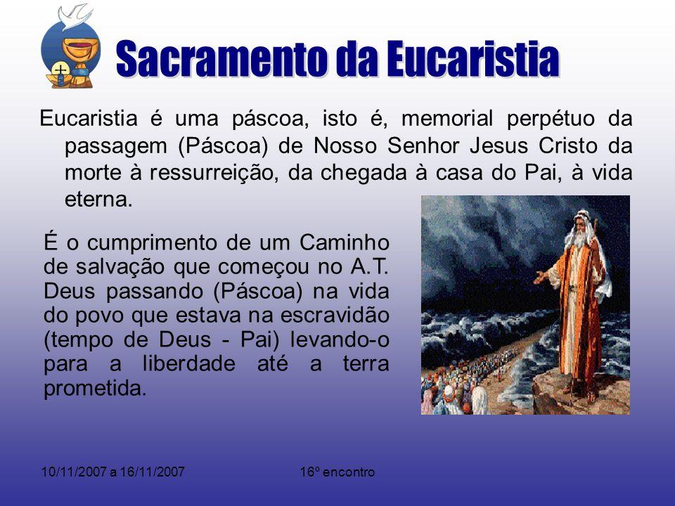 10/11/2007 a 16/11/200716º encontro Cumprida por Jesus Cristo pela sua encarnação, vida, morte e ressurreição passando (Páscoa) da morte para vida (tempo de Deus – Filho).