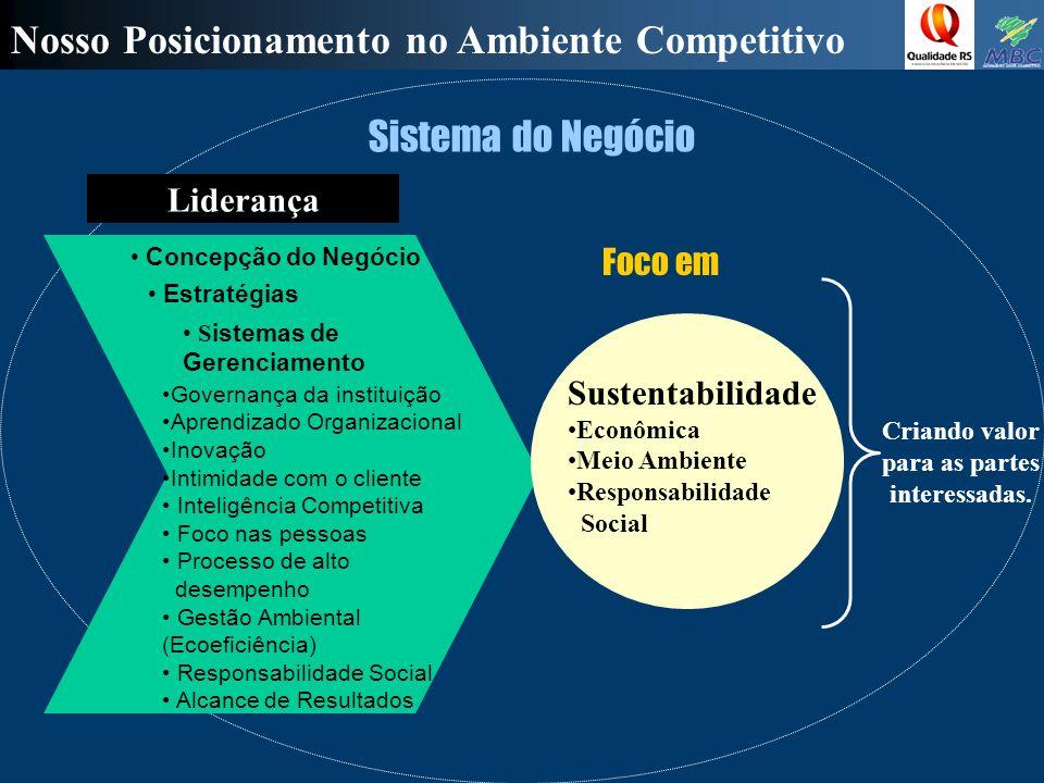 Nosso Posicionamento no Ambiente Competitivo Foco em Liderança Sistema do Negócio Criando valor para as partes interessadas.