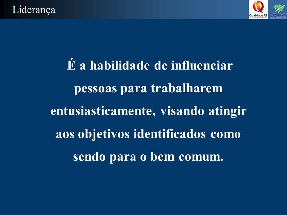 É a habilidade de influenciar pessoas para trabalharem entusiasticamente, visando atingir aos objetivos identificados como sendo para o bem comum.