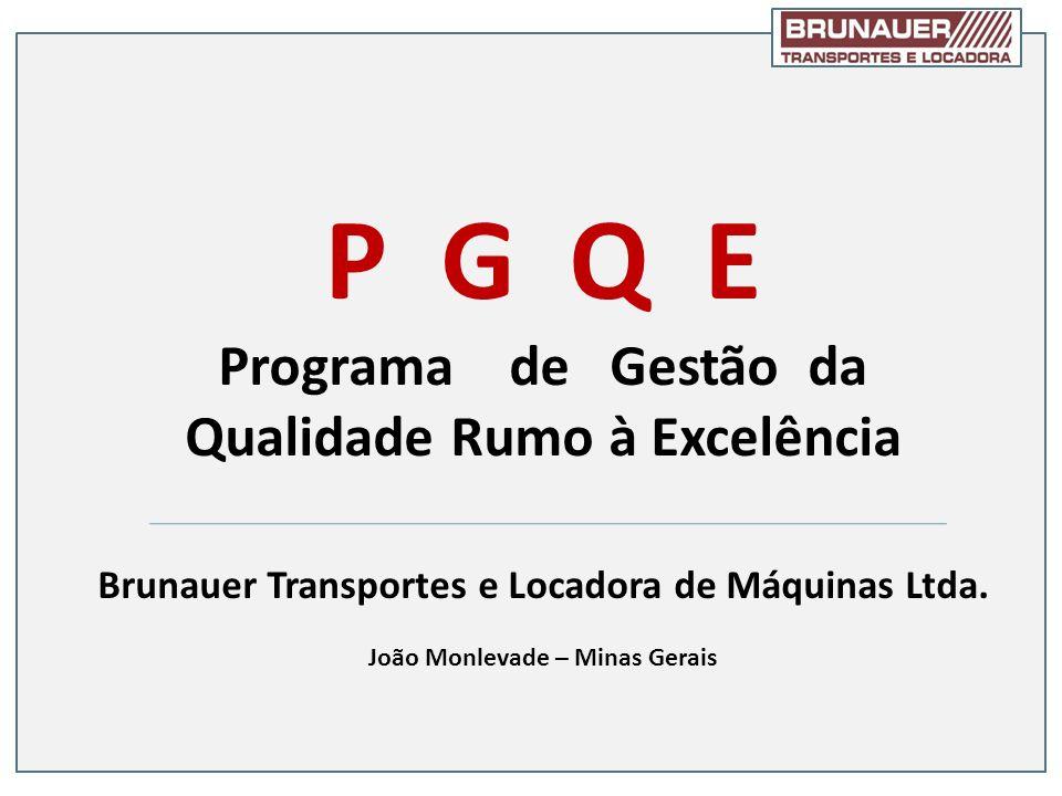 P G Q E Programa de Gestão da Qualidade Rumo à Excelência Brunauer Transportes e Locadora de Máquinas Ltda. João Monlevade – Minas Gerais