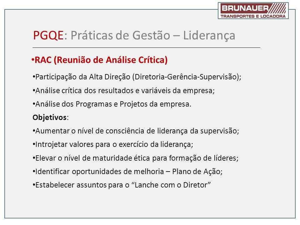 Participação da Alta Direção (Diretoria-Gerência-Supervisão); Análise crítica dos resultados e variáveis da empresa; Análise dos Programas e Projetos