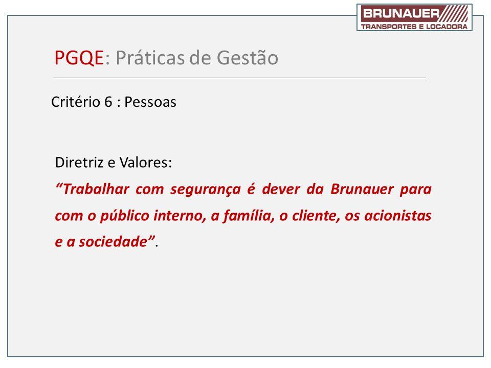 Diretriz e Valores: Trabalhar com segurança é dever da Brunauer para com o público interno, a família, o cliente, os acionistas e a sociedade. PGQE: P