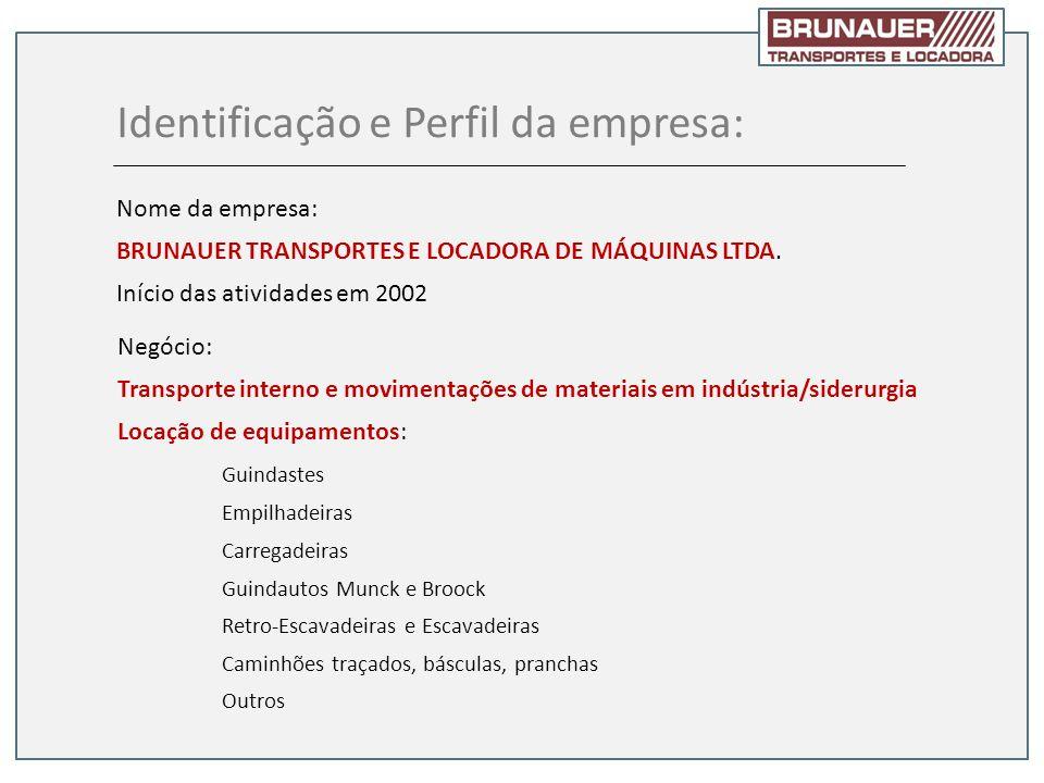 Identificação e Perfil da empresa: Nome da empresa: BRUNAUER TRANSPORTES E LOCADORA DE MÁQUINAS LTDA. Início das atividades em 2002 Negócio: Transport