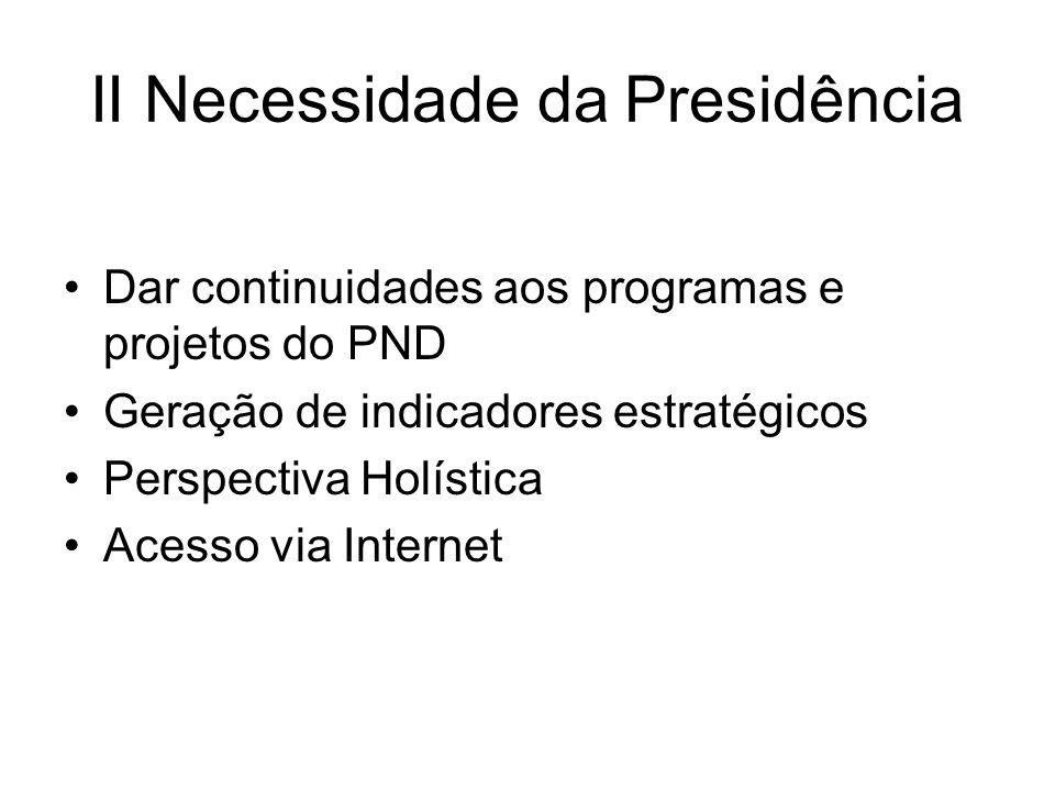 II Necessidade da Presidência Dar continuidades aos programas e projetos do PND Geração de indicadores estratégicos Perspectiva Holística Acesso via Internet