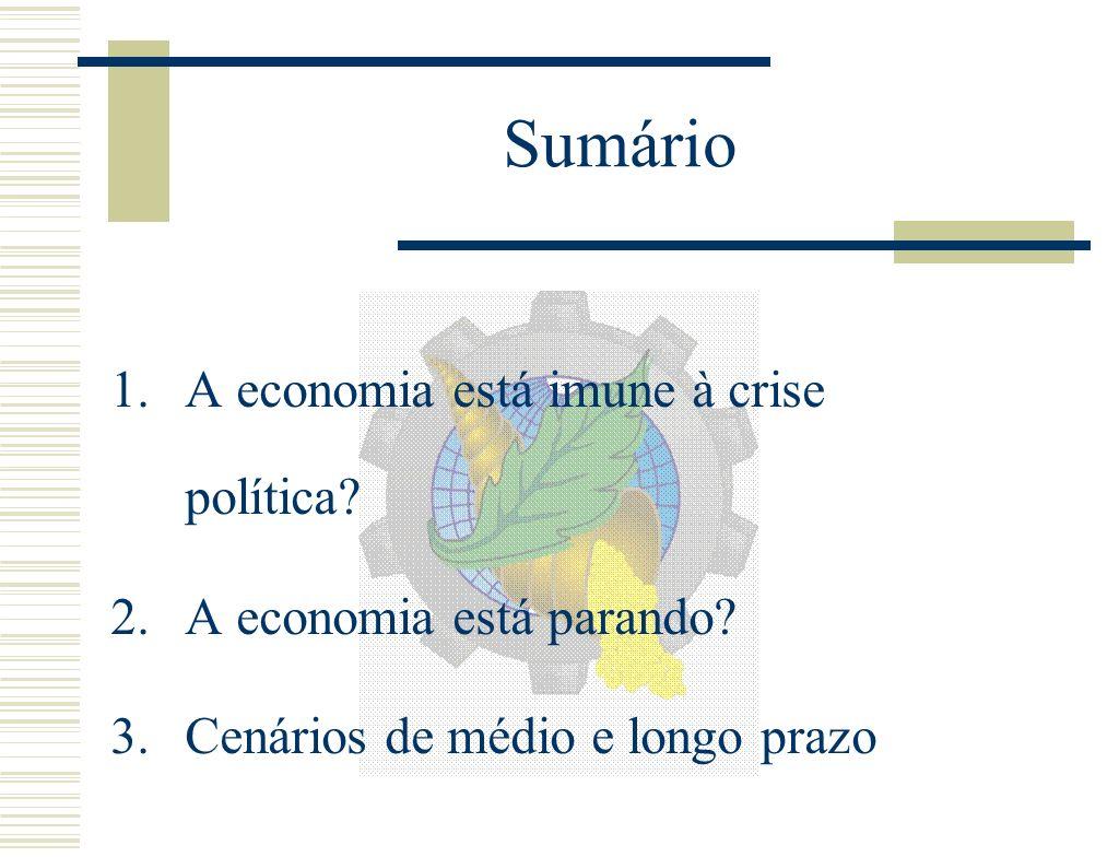 Sumário 1.A economia está imune à crise política. 2.A economia está parando.