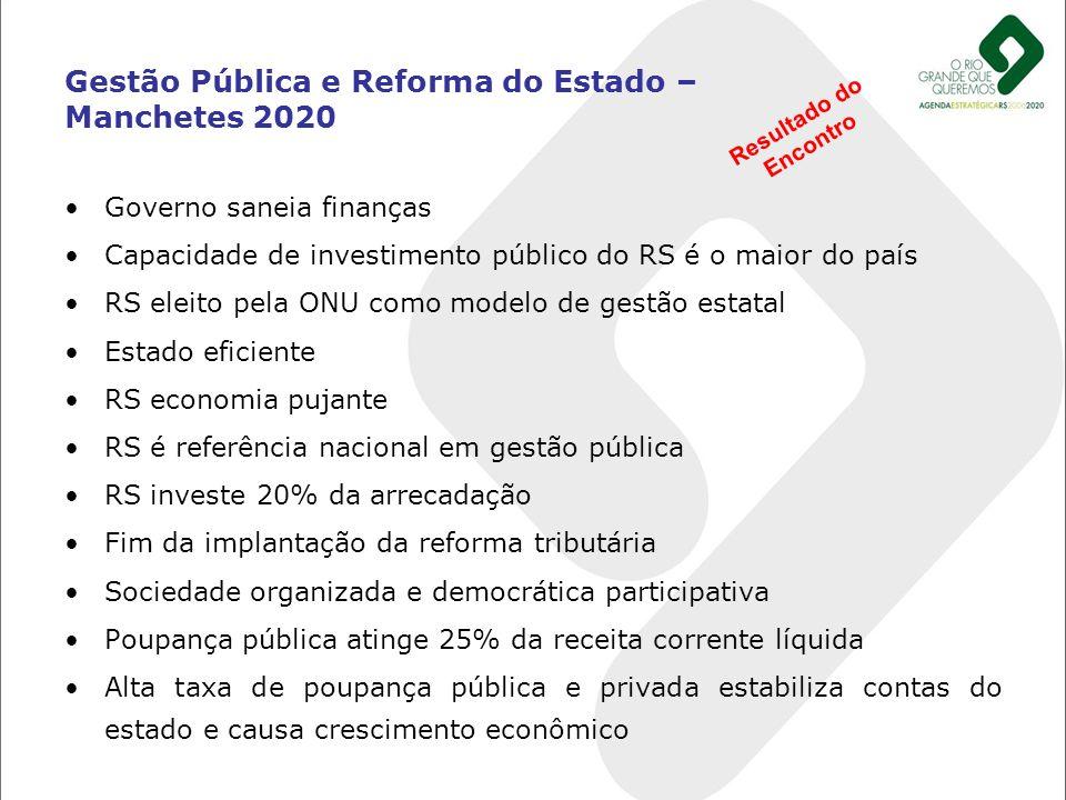 Governo saneia finanças Capacidade de investimento público do RS é o maior do país RS eleito pela ONU como modelo de gestão estatal Estado eficiente R