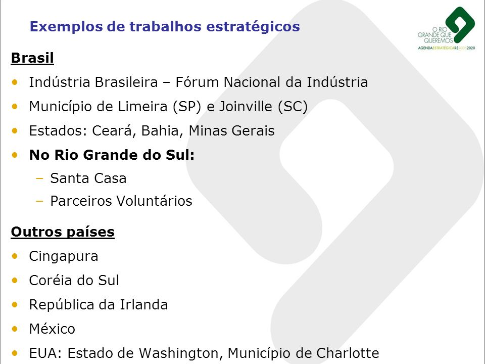 Brasil Indústria Brasileira – Fórum Nacional da Indústria Município de Limeira (SP) e Joinville (SC) Estados: Ceará, Bahia, Minas Gerais No Rio Grande