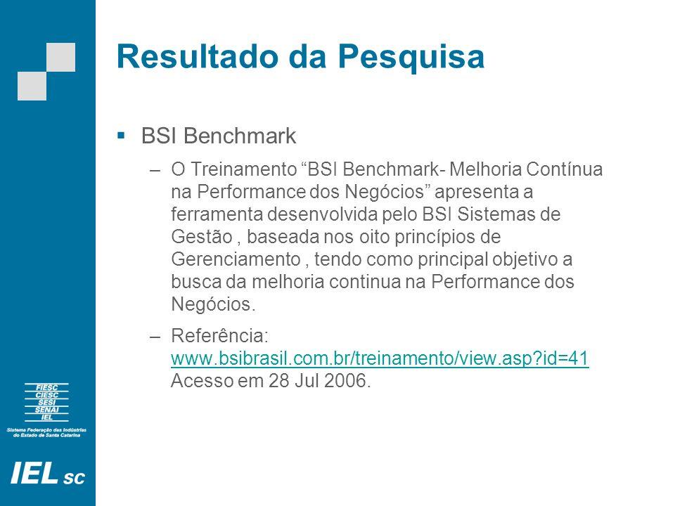 Resultado da Pesquisa BSI Benchmark –O Treinamento BSI Benchmark- Melhoria Contínua na Performance dos Negócios apresenta a ferramenta desenvolvida pelo BSI Sistemas de Gestão, baseada nos oito princípios de Gerenciamento, tendo como principal objetivo a busca da melhoria continua na Performance dos Negócios.