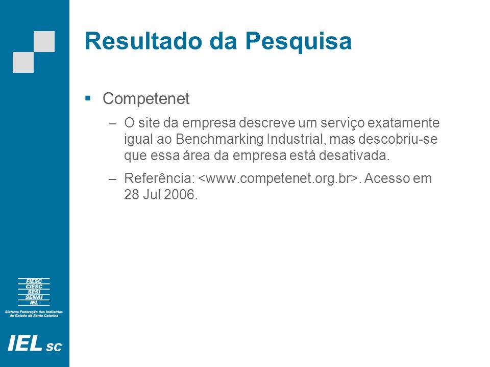 Resultado da Pesquisa Benchmarking Brasil –Utiliza a metodologia do programa International Best Factory Awards/International Best Services Awards (IBFA/IBSA) criada em 1992 pela Cranfield School of Management na Inglaterra.