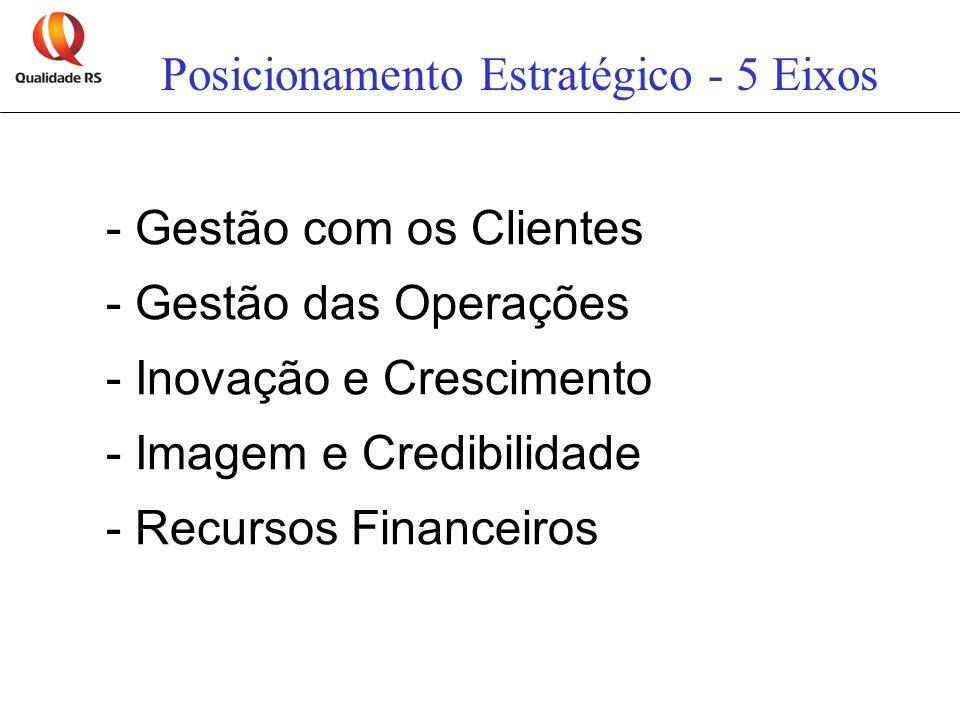 Posicionamento Estratégico - 5 Eixos - Gestão com os Clientes - Gestão das Operações - Inovação e Crescimento - Imagem e Credibilidade - Recursos Fina