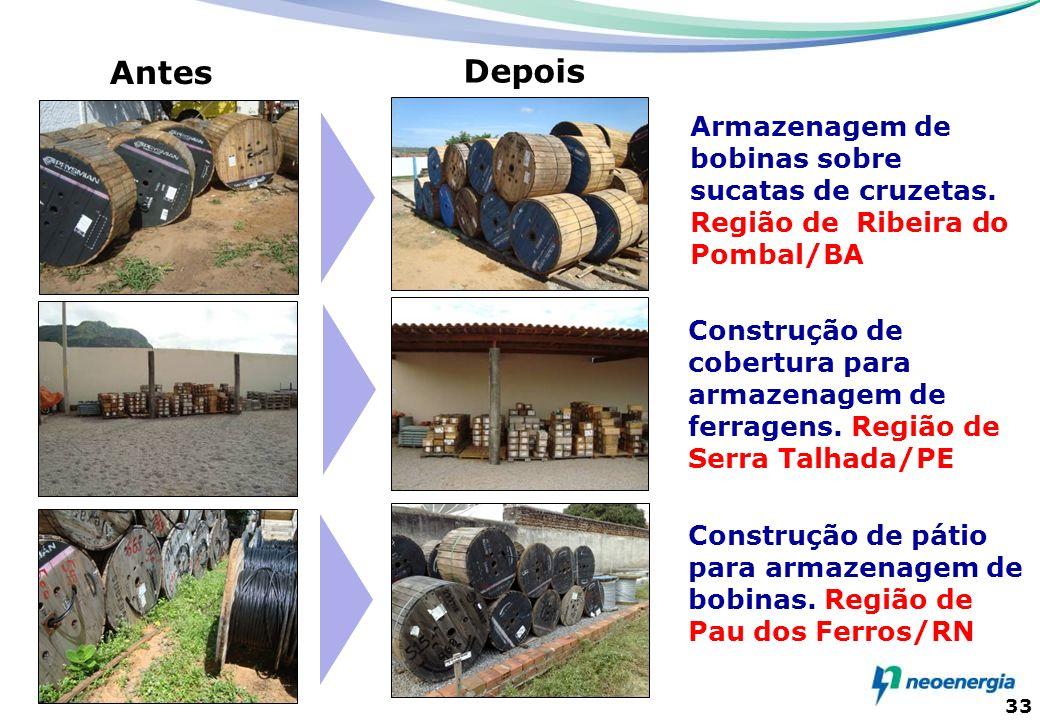 33 Armazenagem de bobinas sobre sucatas de cruzetas. Região de Ribeira do Pombal/BA Antes Depois Construção de cobertura para armazenagem de ferragens