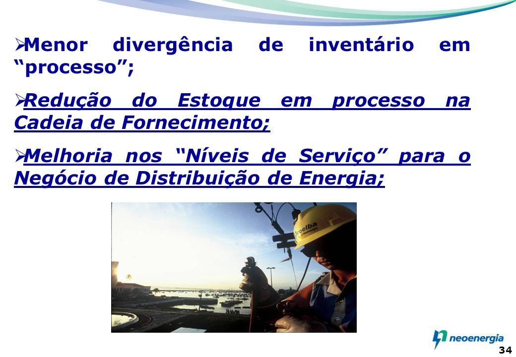 34 Menor divergência de inventário em processo; Redução do Estoque em processo na Cadeia de Fornecimento; Melhoria nos Níveis de Serviço para o Negóci