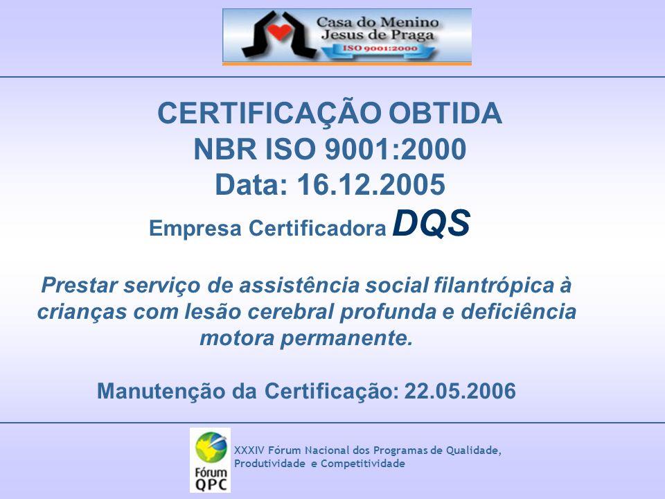 XXXIV Fórum Nacional dos Programas de Qualidade, Produtividade e Competitividade CERTIFICAÇÃO OBTIDA NBR ISO 9001:2000 Data: 16.12.2005 Empresa Certif