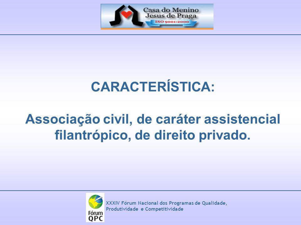 XXXIV Fórum Nacional dos Programas de Qualidade, Produtividade e Competitividade CARACTERÍSTICA: Associação civil, de caráter assistencial filantrópic