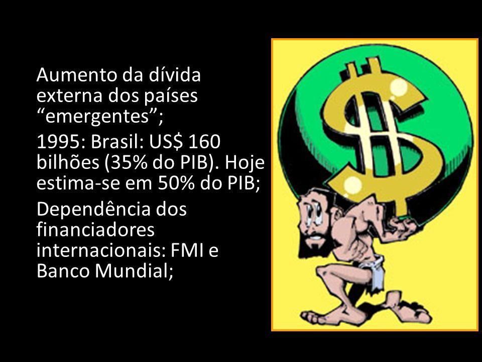 Efeitos colaterais: a perversidade Concentração generalizada das riquezas; EUA, Japão e U.E. = 20% da população mundial e 75% das riquezas. Aumento ve
