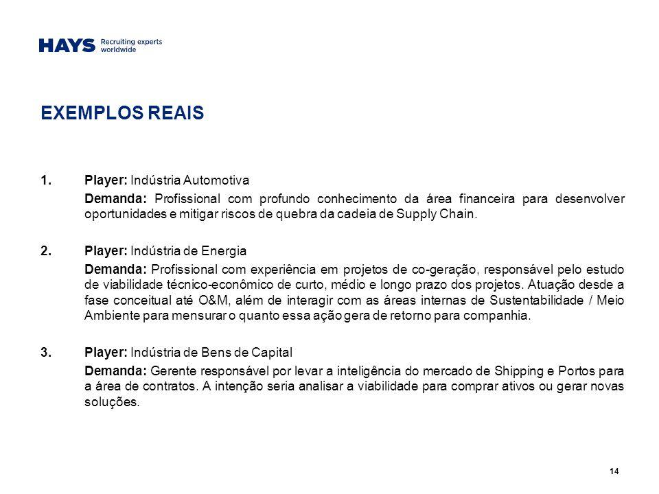 14 EXEMPLOS REAIS 1.Player: Indústria Automotiva Demanda: Profissional com profundo conhecimento da área financeira para desenvolver oportunidades e mitigar riscos de quebra da cadeia de Supply Chain.