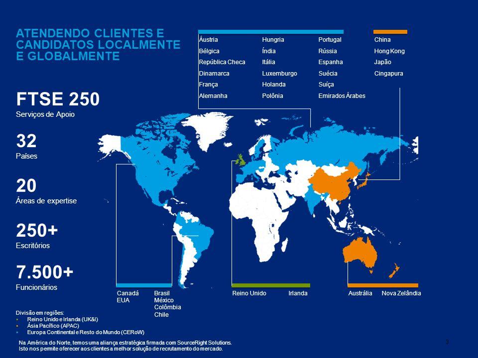 3 32 Países 20 Áreas de expertise 250+ Escritórios 7.500+ Funcionários ATENDENDO CLIENTES E CANDIDATOS LOCALMENTE E GLOBALMENTE Divisão em regiões: Reino Unido e Irlanda (UK&I) Ásia Pacífico (APAC) Europa Continental e Resto do Mundo (CERoW) Na América do Norte, temos uma aliança estratégica firmada com SourceRight Solutions.