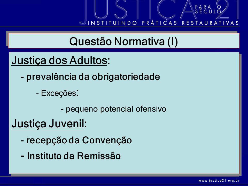 Justiça dos Adultos: - prevalência da obrigatoriedade - Exceções : - pequeno potencial ofensivo Justiça Juvenil: - recepção da Convenção - Instituto d