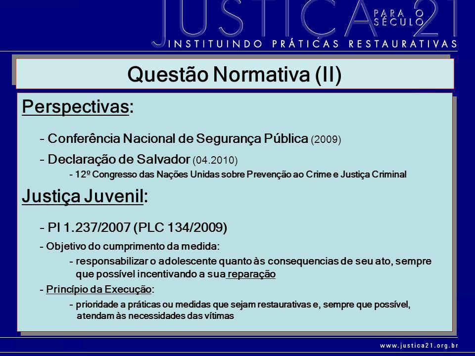 Perspectivas: - Conferência Nacional de Segurança Pública (2009) - Declaração de Salvador (04.2010) - 12º Congresso das Nações Unidas sobre Prevenção