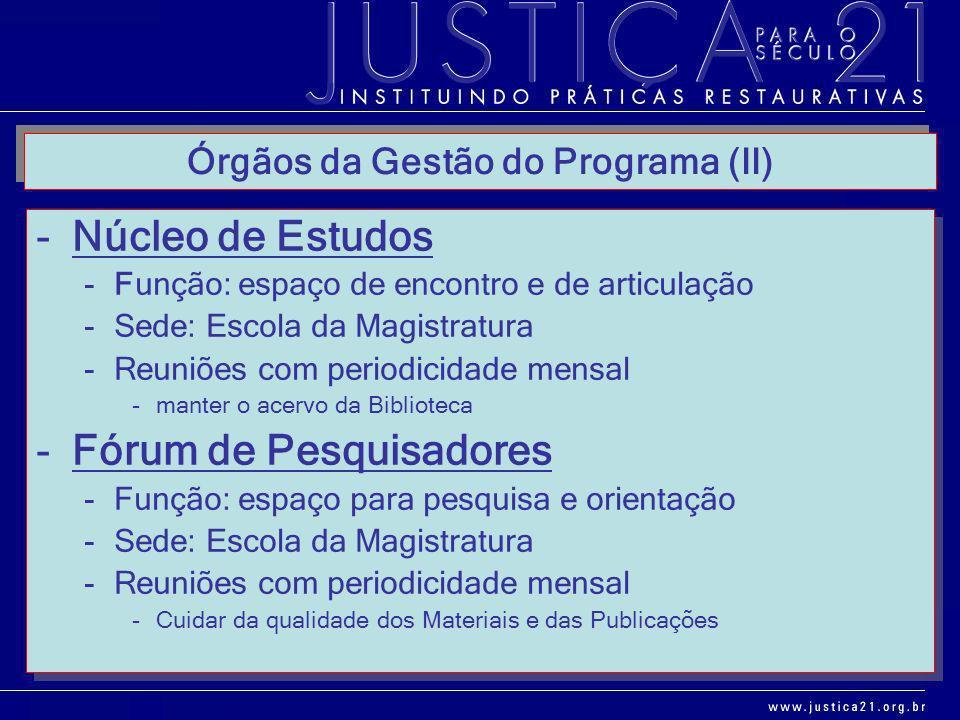 Órgãos da Gestão do Programa (II) -Núcleo de Estudos -Função: espaço de encontro e de articulação -Sede: Escola da Magistratura -Reuniões com periodic