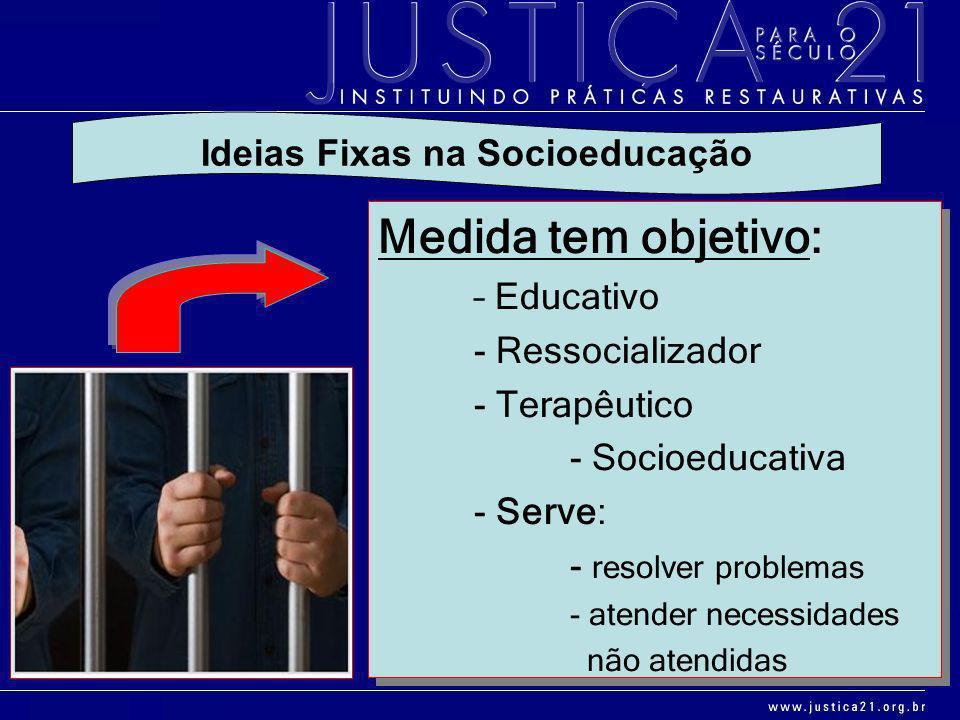 Medida tem objetivo: – Educativo - Ressocializador - Terapêutico - Socioeducativa - Serve: - resolver problemas - atender necessidades não atendidas M