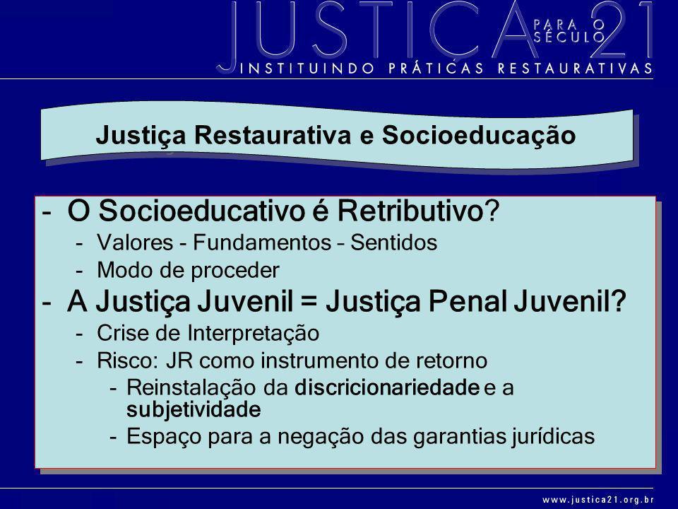 -O Socioeducativo é Retributivo? -Valores - Fundamentos – Sentidos -Modo de proceder -A Justiça Juvenil = Justiça Penal Juvenil? -Crise de Interpretaç