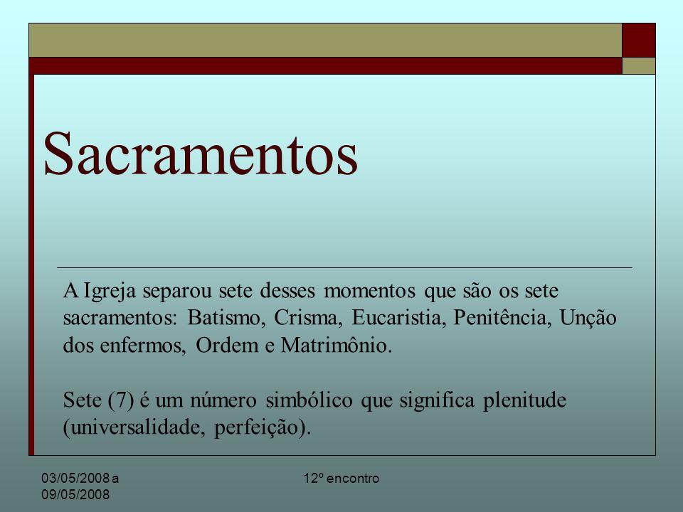 03/05/2008 a 09/05/2008 12º encontro Sacramentos Os três primeiros sacramentos são de iniciação: Batismo = renascimento Crisma = fortalecimento Eucaristia = alimento