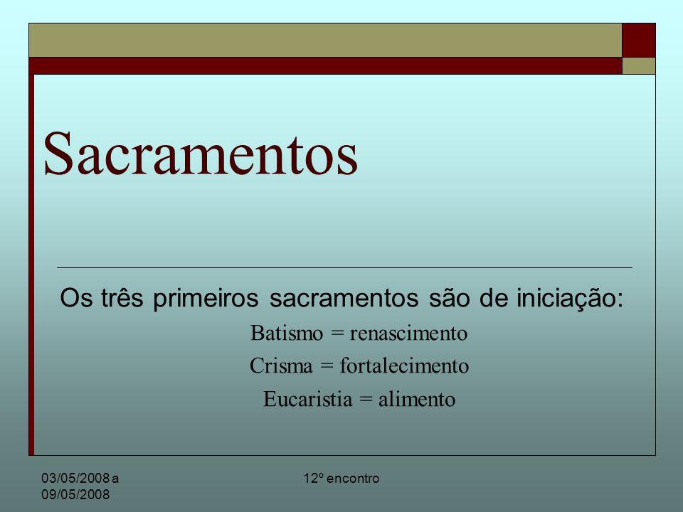 03/05/2008 a 09/05/2008 12º encontro Sacramentos Os três primeiros sacramentos são de iniciação: Batismo = renascimento Crisma = fortalecimento Eucari