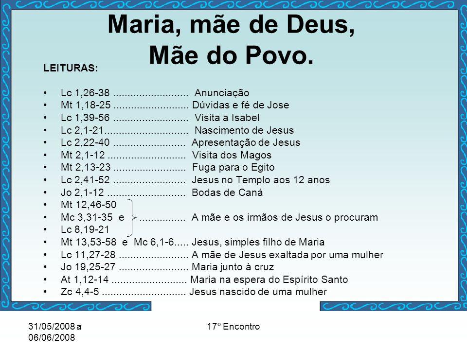 31/05/2008 a 06/06/2008 17º Encontro Maria, mãe de Deus, Mãe do Povo. LEITURAS: Lc 1,26-38.......................... Anunciação Mt 1,18-25............