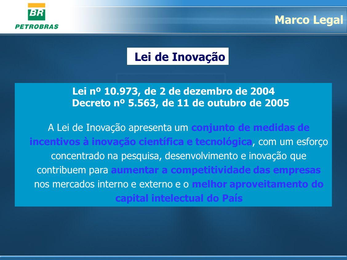 Lei nº 10.973, de 2 de dezembro de 2004 Decreto nº 5.563, de 11 de outubro de 2005 A Lei de Inovação apresenta um conjunto de medidas de incentivos à