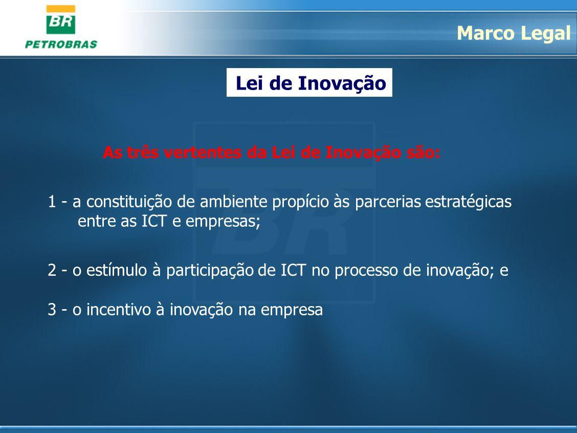 As três vertentes da Lei de Inovação são: 1 - a constituição de ambiente propício às parcerias estratégicas entre as ICT e empresas; 2 - o estímulo à