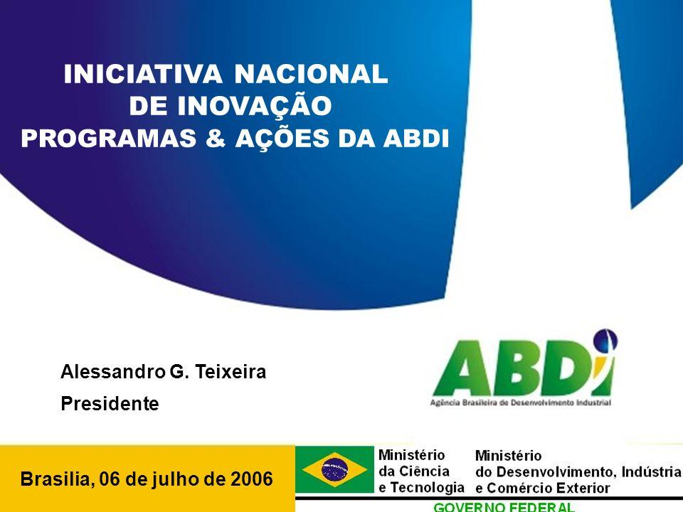PLANO DE DESENVOLVIMENTO INDUSTRIAL, TECNOLÓGICO E DE COMÉRCIO EXTERIOR HORIZONTE 2008 Brasilia, 06 de julho de 2006 INICIATIVA NACIONAL DE INOVAÇÃO PROGRAMAS & AÇÕES DA ABDI Alessandro G.