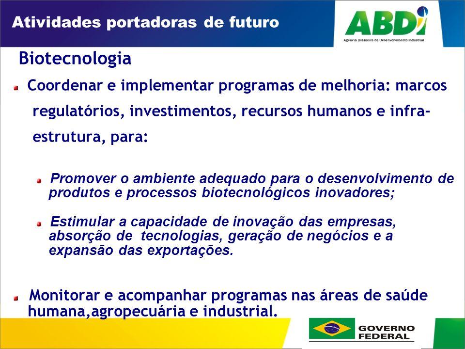 PLANO DE DESENVOLVIMENTO INDUSTRIAL, TECNOLÓGICO E DE COMÉRCIO EXTERIOR HORIZONTE 2008 Atividades portadoras de futuro Biotecnologia Coordenar e implementar programas de melhoria: marcos regulatórios, investimentos, recursos humanos e infra- estrutura, para: Promover o ambiente adequado para o desenvolvimento de produtos e processos biotecnológicos inovadores; Estimular a capacidade de inovação das empresas, absorção de tecnologias, geração de negócios e a expansão das exportações.