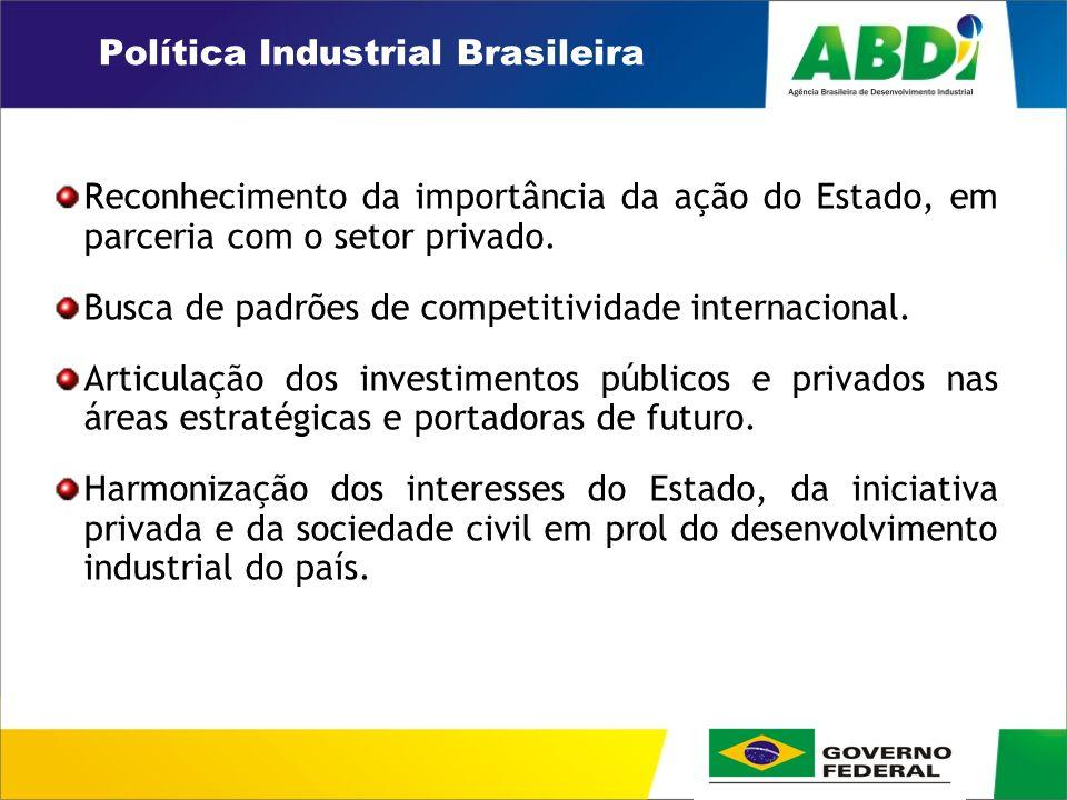 PLANO DE DESENVOLVIMENTO INDUSTRIAL, TECNOLÓGICO E DE COMÉRCIO EXTERIOR HORIZONTE 2008 Política Industrial Brasileira Reconhecimento da importância da ação do Estado, em parceria com o setor privado.