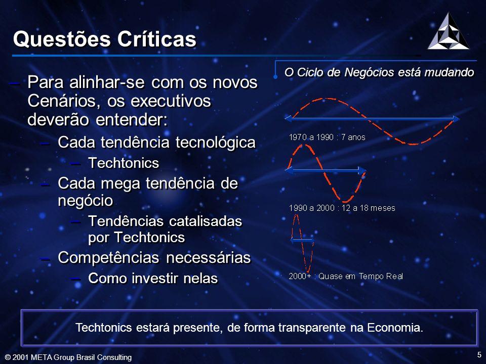 © 2001 META Group Brasil Consulting 6 A Transformação Techtônica Techtonics - Difícil Enxergar –Tendências tecnológicas mudam, de forma sutil, a face do planeta –Conectividade –Informação onipresente –Interfaces ergonômicos –Convergência digital –A Economia se transforma, adotando um modelo em rede, que favorece os intangíveis –Idéias –Informação –Relacionamentos –Tendências tecnológicas mudam, de forma sutil, a face do planeta –Conectividade –Informação onipresente –Interfaces ergonômicos –Convergência digital –A Economia se transforma, adotando um modelo em rede, que favorece os intangíveis –Idéias –Informação –Relacionamentos Techtonics vai direcionar as empresas a um modelo baseado em Keiretsu, em negócios onipresentes, utilizando uma força de trabalho virtual.